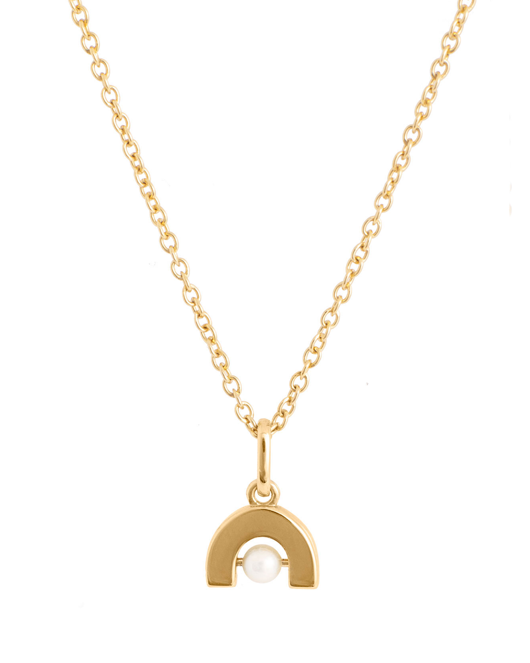 A gold chain necklace, with a delicate gold arch encompassing a pearl.