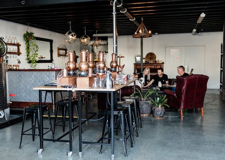 the interior of a gin distillery
