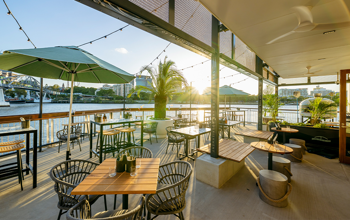 a bar overlooking the Brisbane river