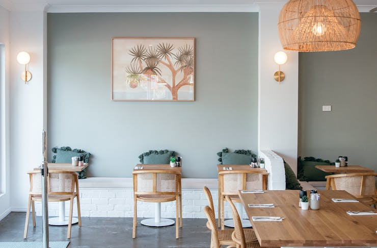 sage green interiors of willow cafe
