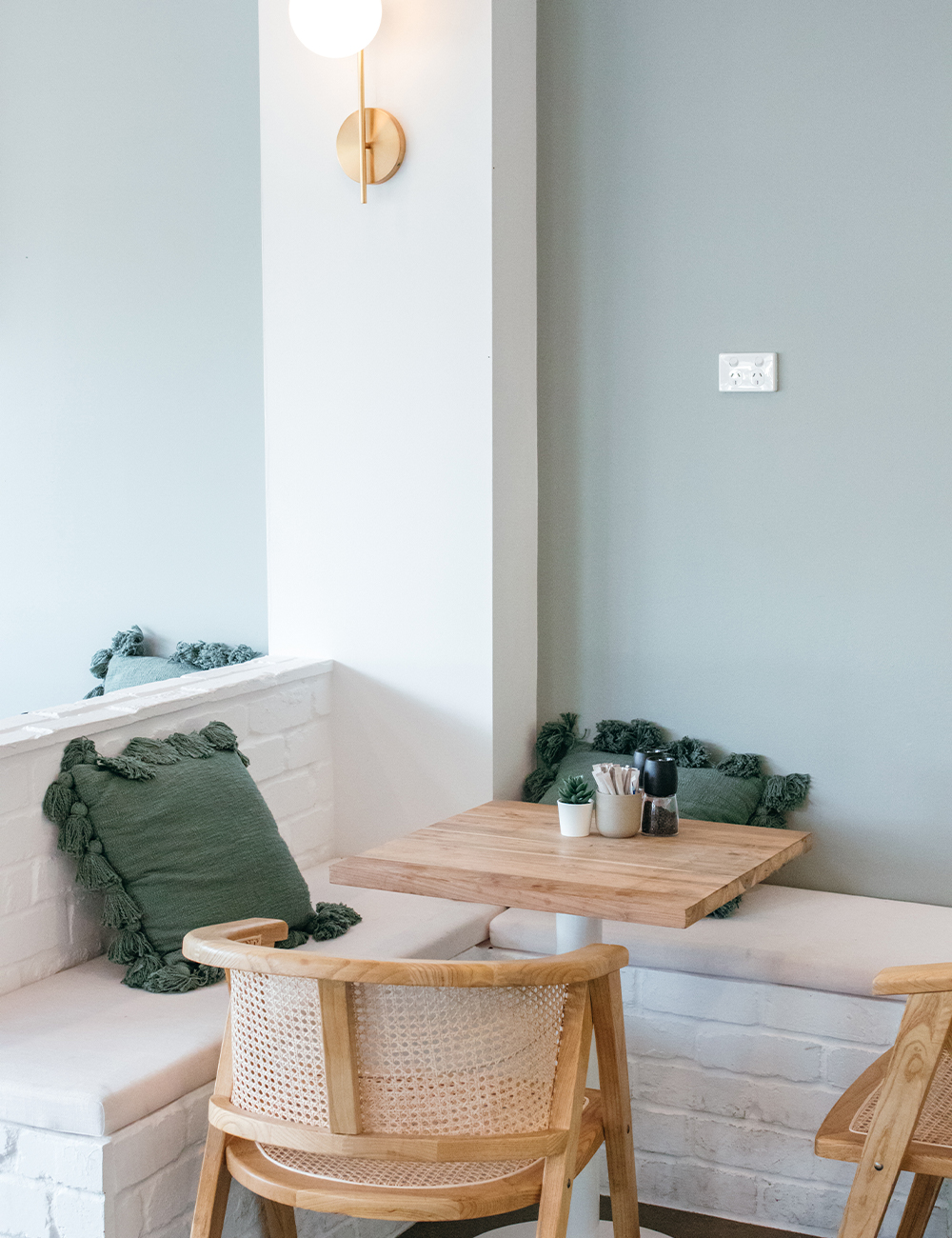 a corner table inside Willow CAfe