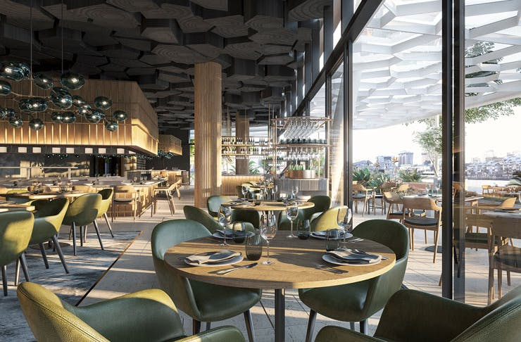 The dining room at Woodcut, at Crown Sydney.