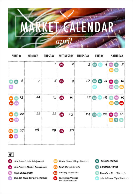 Brisbane Market Calendar