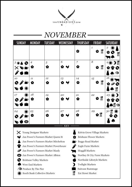 market calendar brisbane
