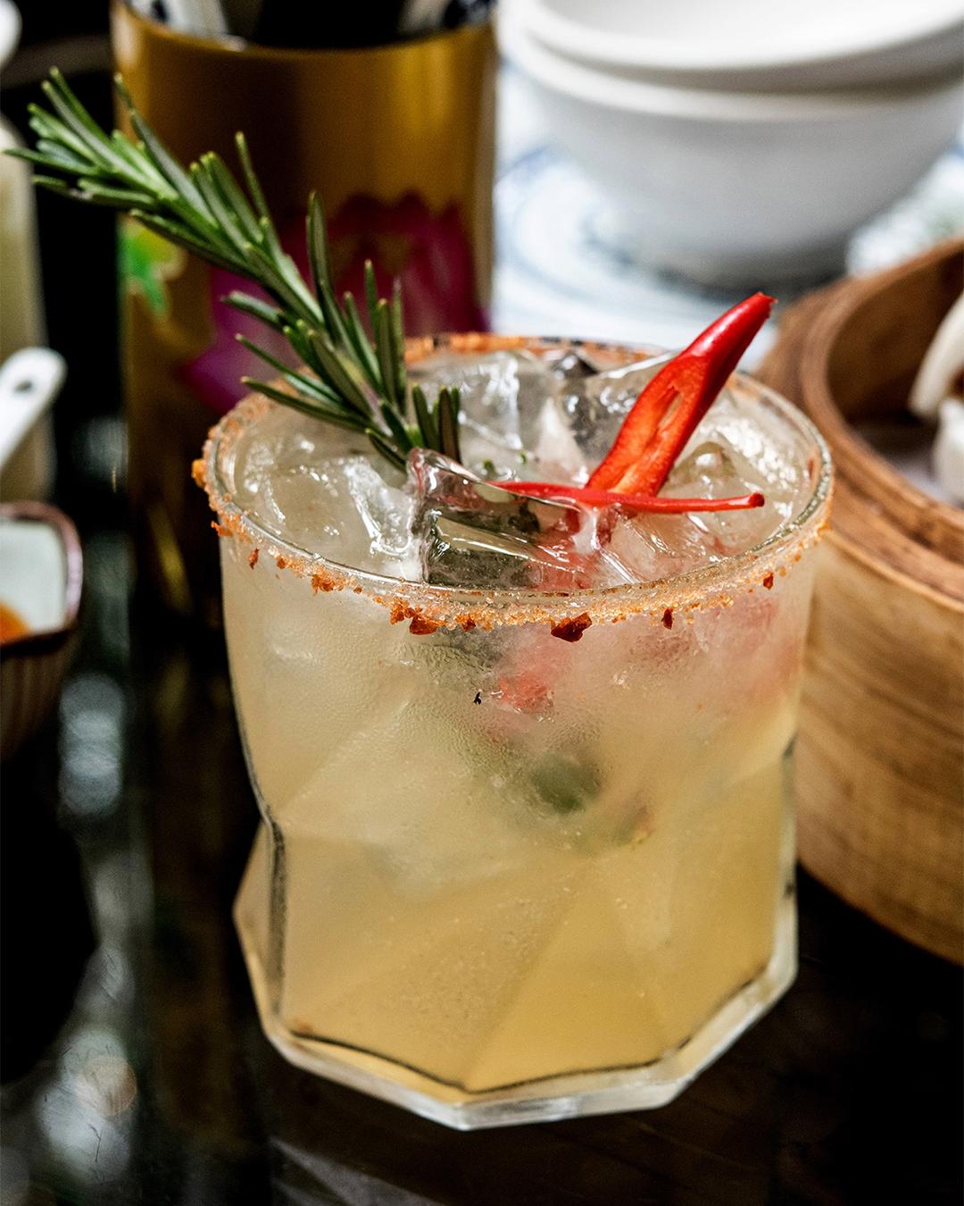 Xuxu's Rosemary Margarita looks spicy.