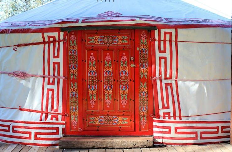 The outside of the traditional Mongolian style yurt at Yarranungara Yurt Retreat outside Wangaratta, Victoria.