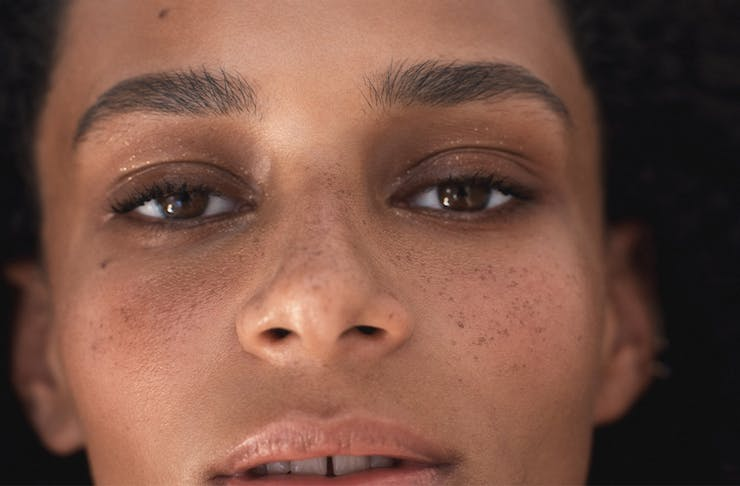close up of a womans face