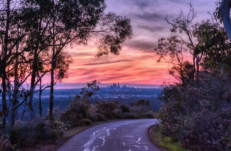 view of Perth City from Zig Zag Drive in Kalamunda