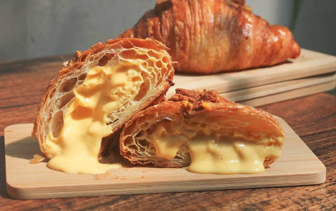 a oozing egg custard croissant