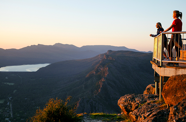 two people standing on lookoout over the victorian grampians