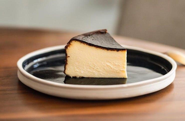 burnt basque cheesecake slice
