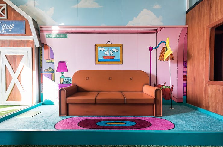 A recreation of the Simpson's living room as part of the mini-golf course.
