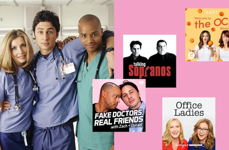 a collage of podcast hero images and the trio from Scrubs