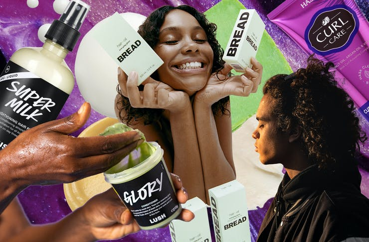 collage of curly hair products