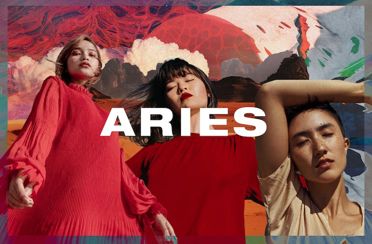 a colourful collage with Aries written in white text.