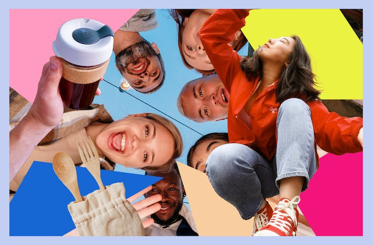 A colourful collage of young people smiling. There is also a reusable coffee cup and cutlery set.