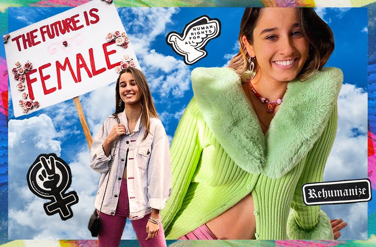 collage of chanel contos and female empowerment messaging