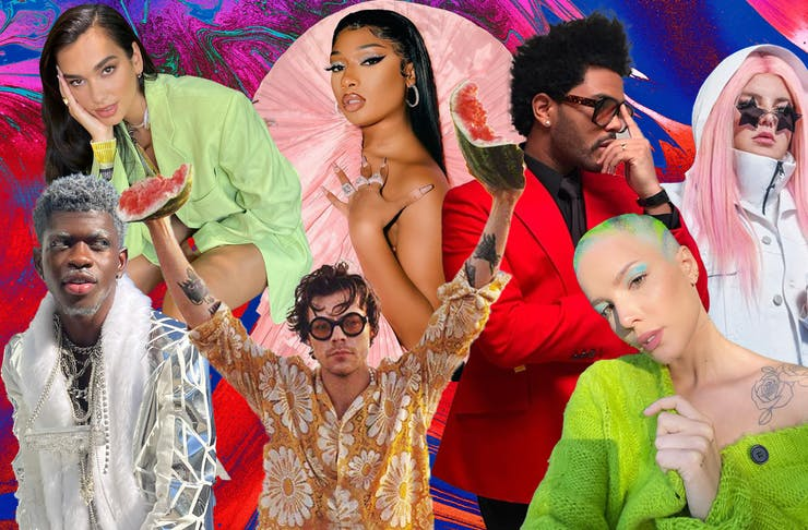 a collage of colourful images featuring Harry Styles, Halsey, Dua Lipa and Lil Nas.