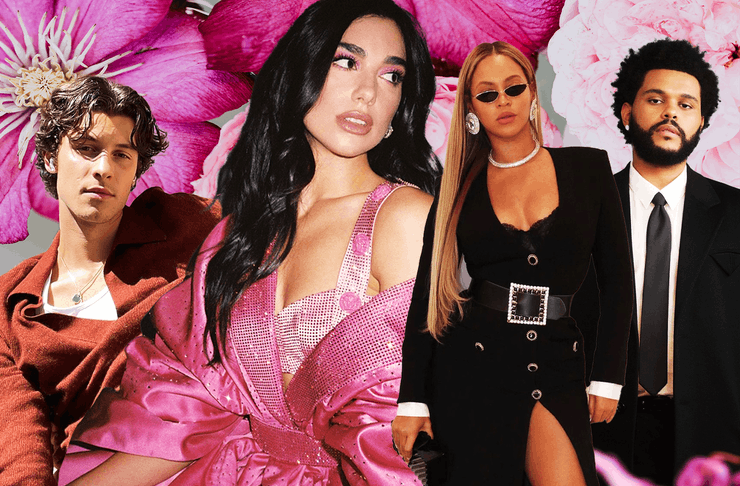 A collage of singers including Dua Lipa, Shawn Mendes, The Weeknd and Beyonce