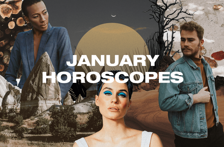a collage of people in front of a moon with the text 'January horoscope'