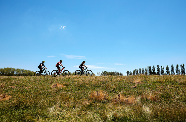 three people riding bikes on flay plain with trees