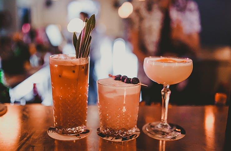 cocktails on bar top