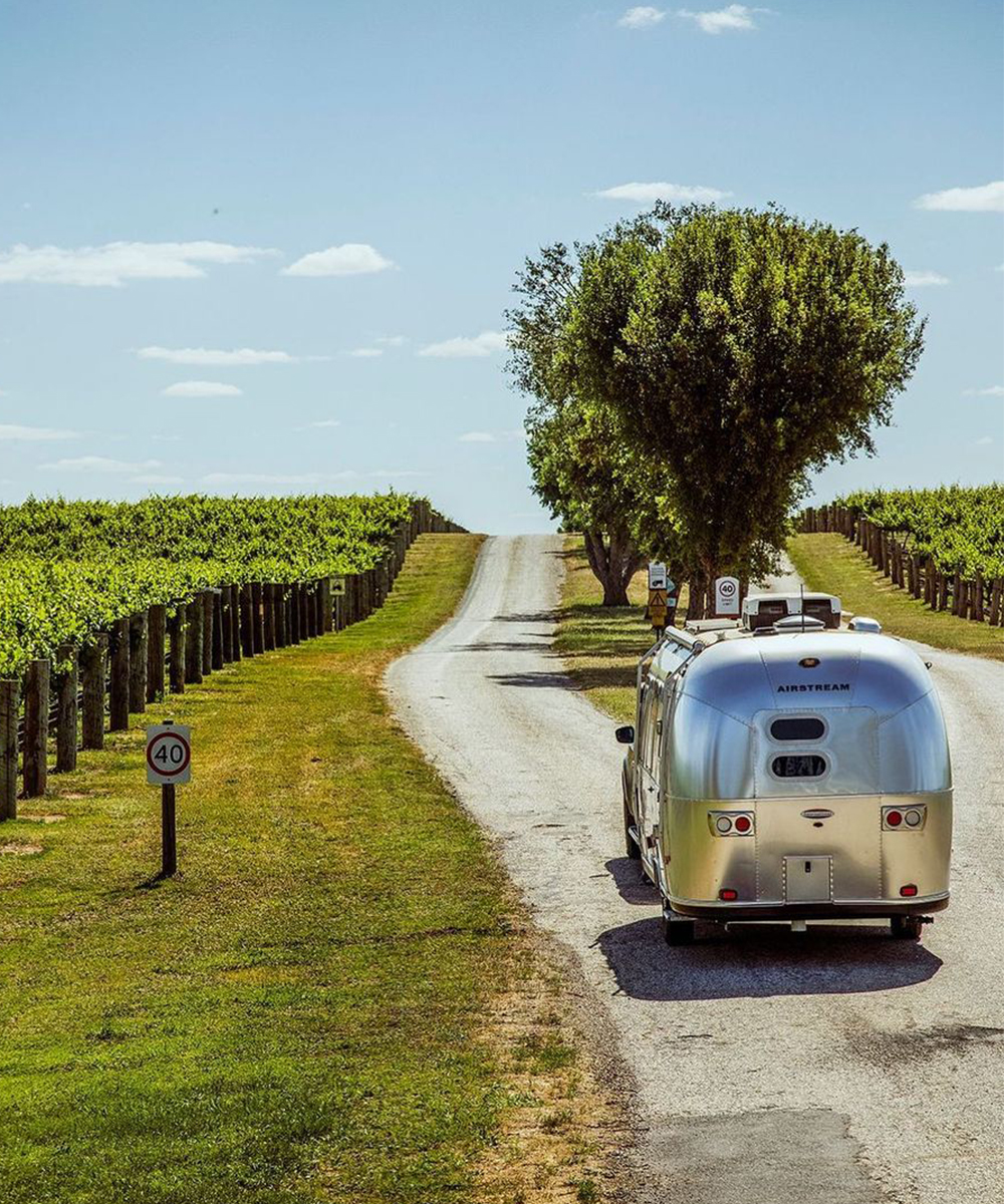 An Airstream drives down a country lane, lush vineyards to the left.