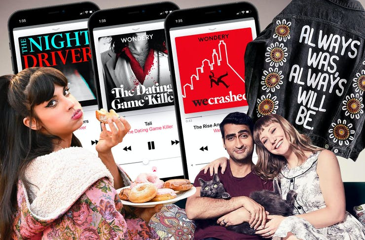 a collage of images featuring podcasts on phones, a jacket and a woman eating a cake.