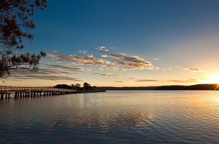 wallaga lakes at sunset