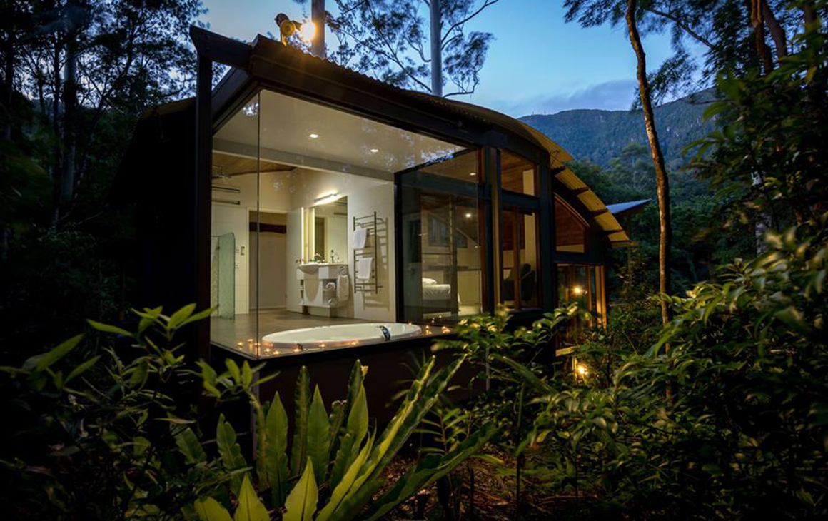 crystal creek cabin within heriatge listed rainforest at night time