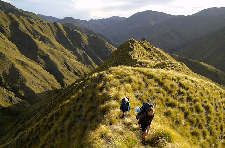 two people hike up huge green mountains in new zealand