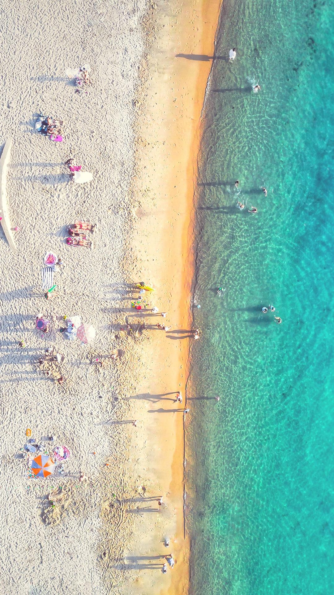 aerial view of clear beach