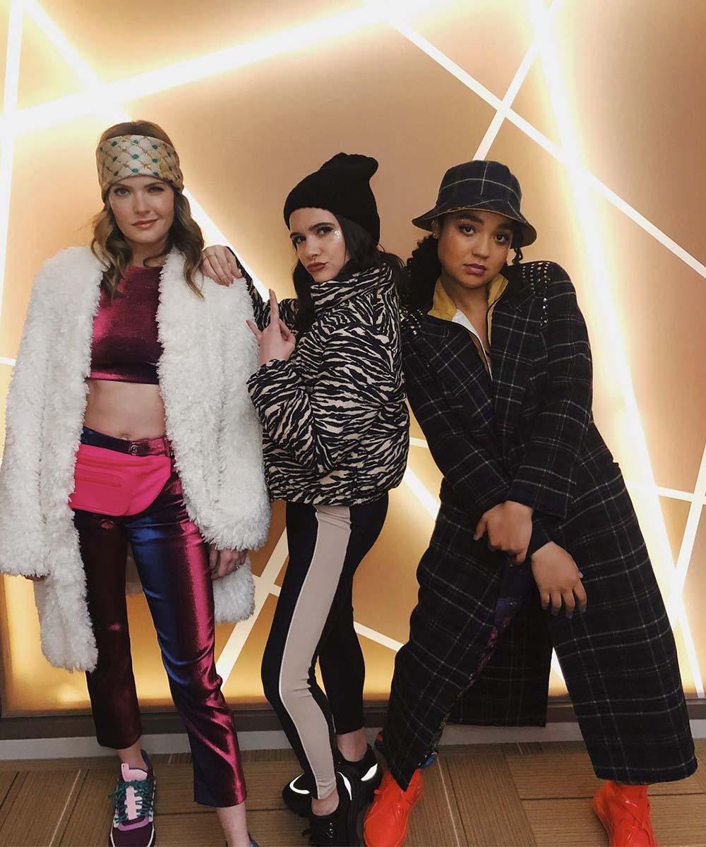 Aisha Dee, Katie Stevens and Meghann Fahy strike a pose on the set of The Bold Type