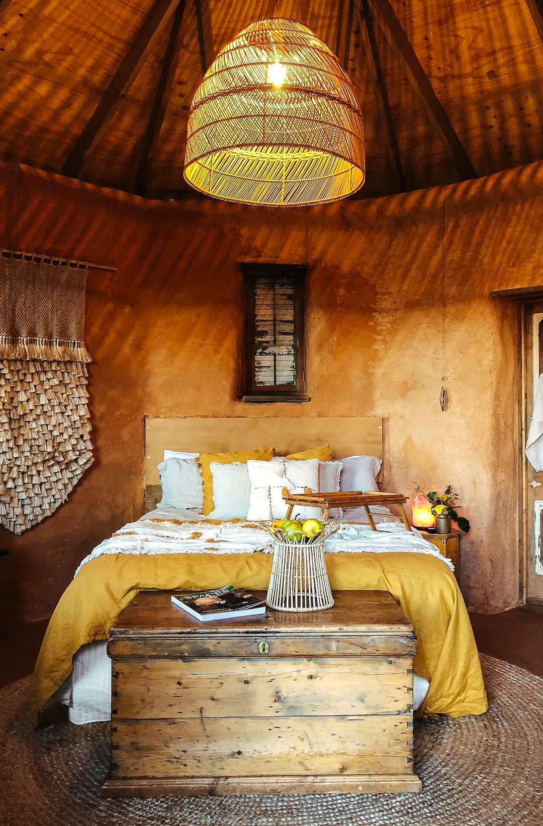 interior of straw bale hut