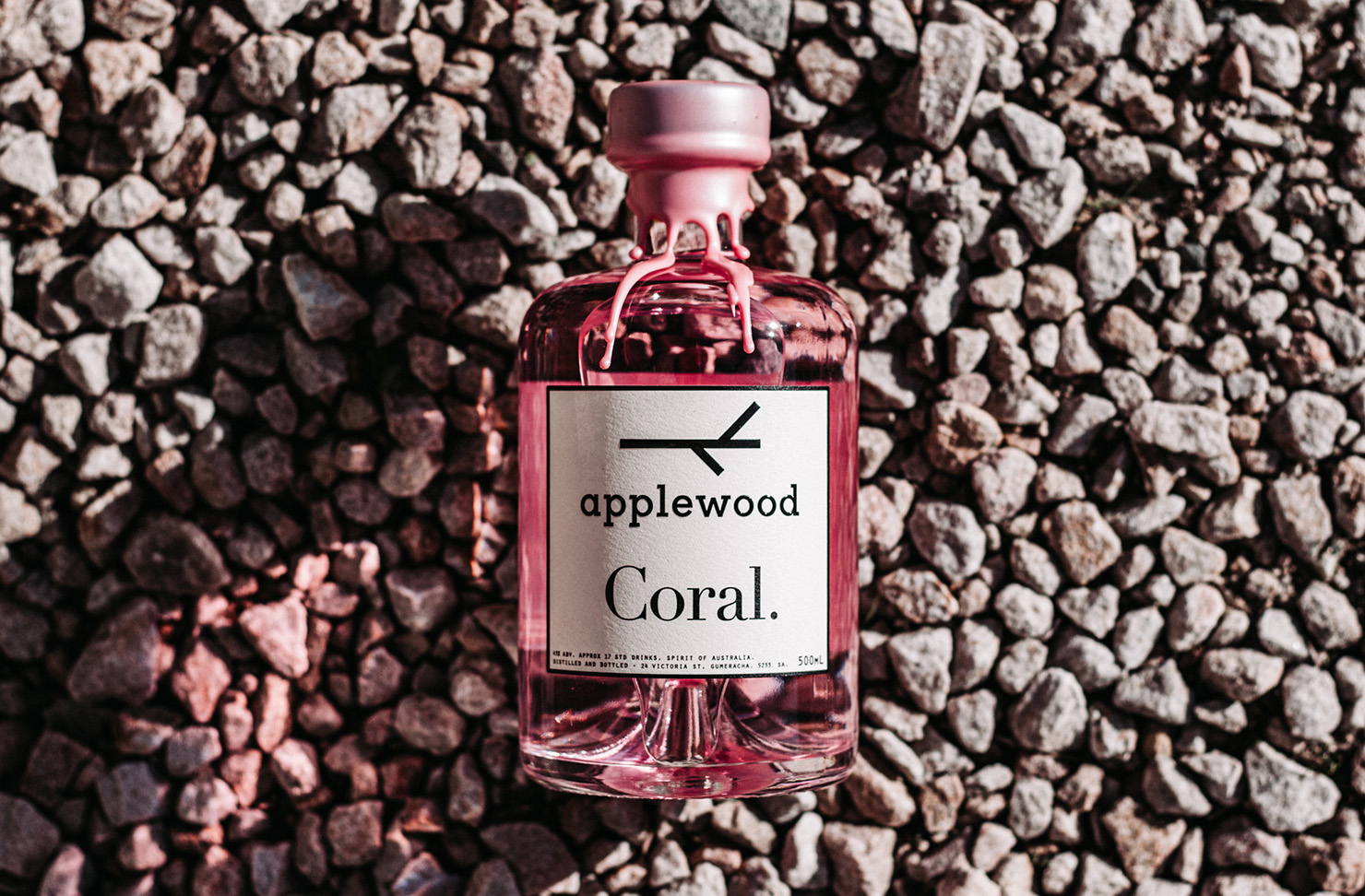 Applewood's baby pink Coral bottle of gin.