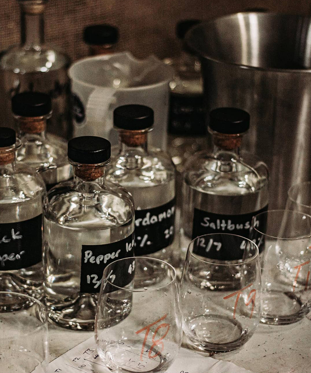 various bottles of gin flavours.