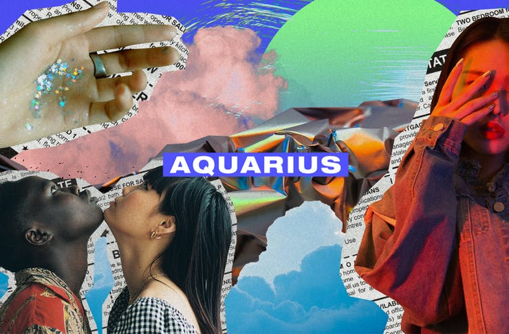 a colourful collage of images with the text Aquarius on top.