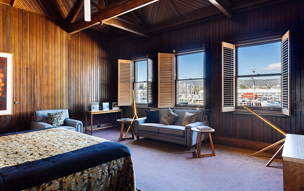 The interior of a suite at the Henry Jones Art Hotel in Hobart