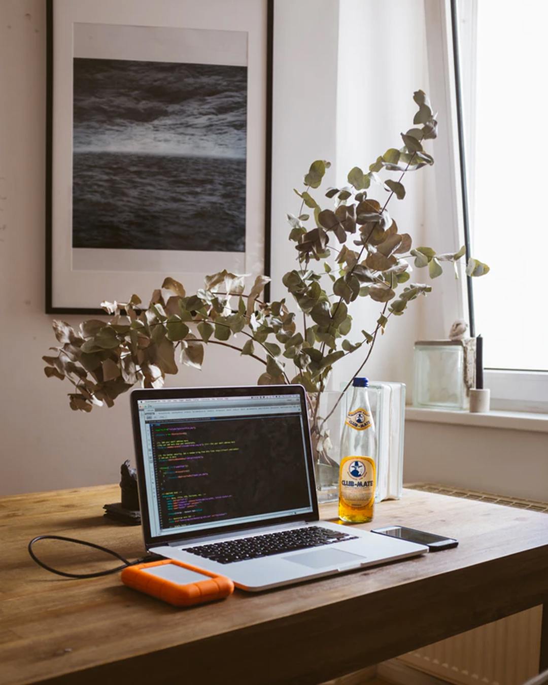 home office set up with apple laptop, desk plant and wall art of the ocean