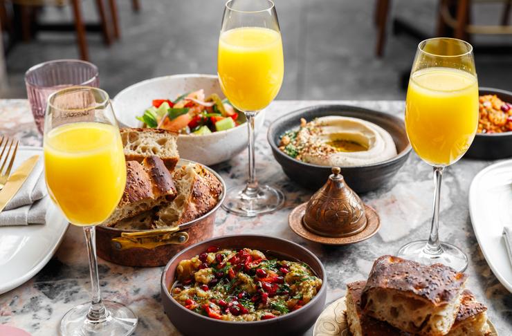 mezze spread from Sydney's Babylon at its bottomless mezze and mimosas