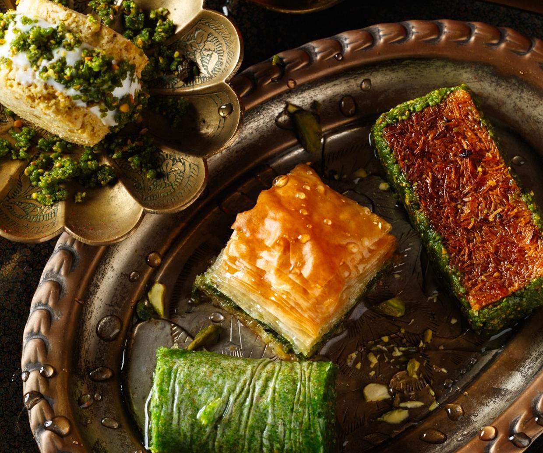 tray of syrupy baklava