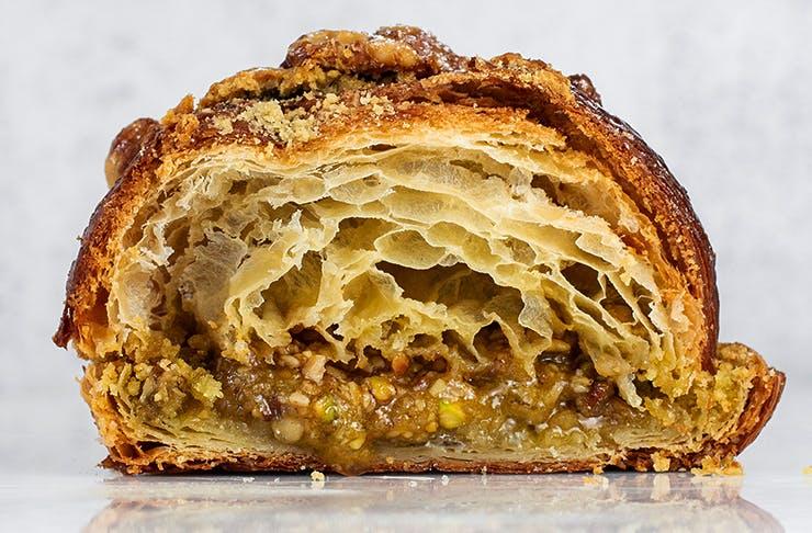 baklava croissant chopped in half