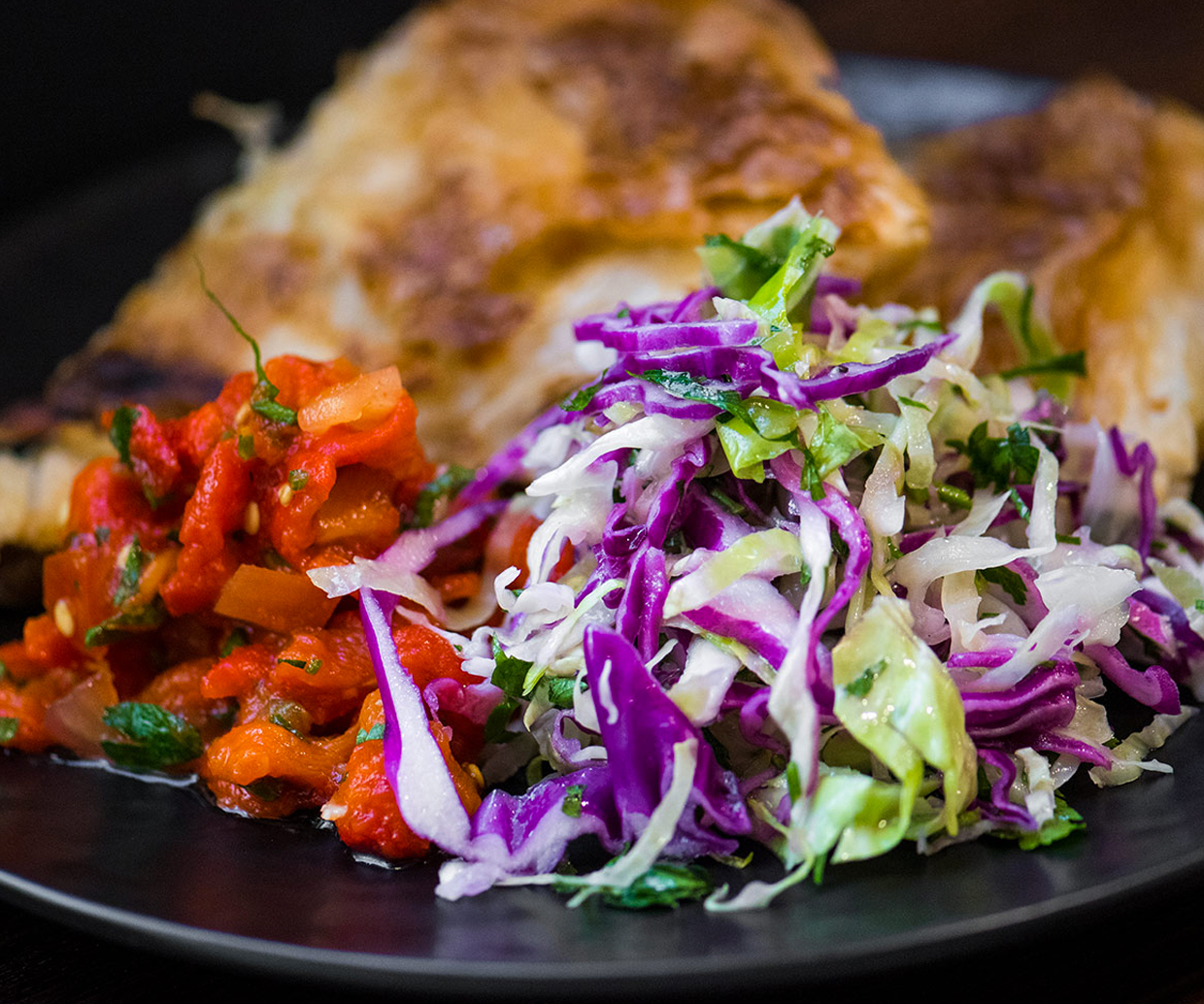 salad with balkan bread on plate