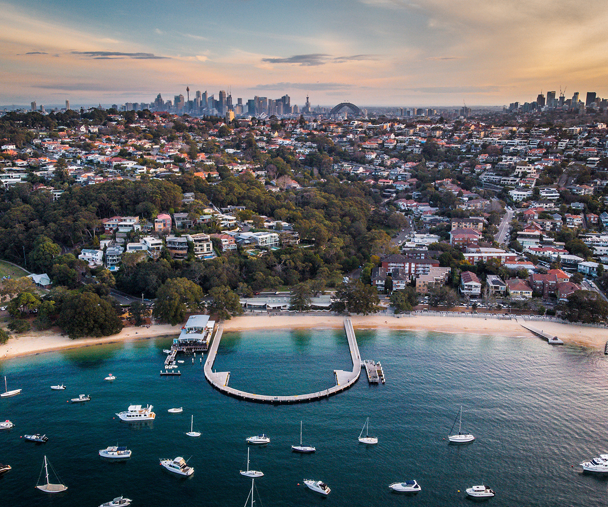 aerial view of sydney and beach