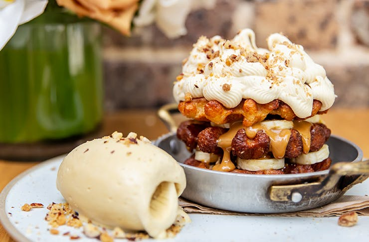 delicious looking banoffee pie waffle
