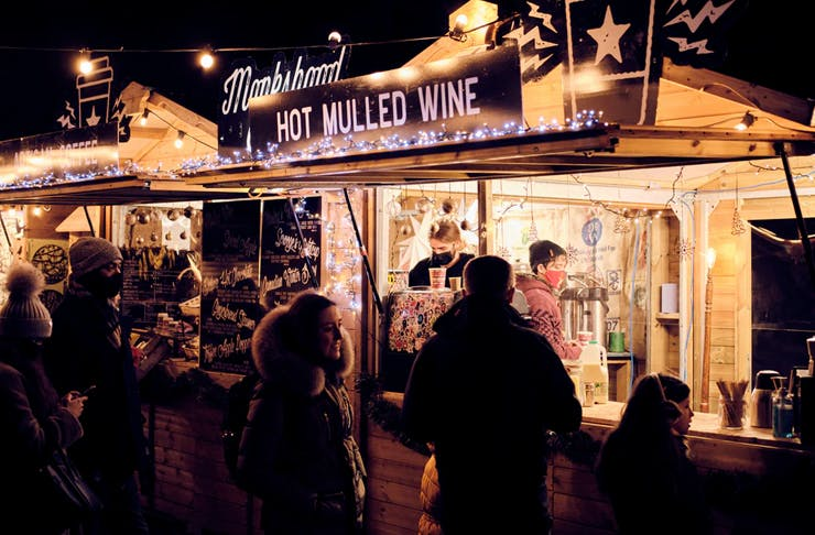 night market with mulled wine stand