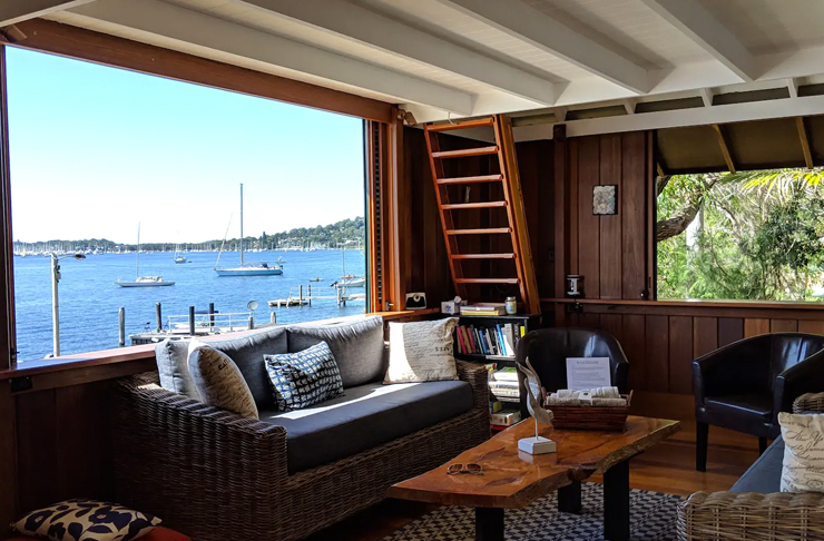 harbour view from coverted fisherman shed in sydney