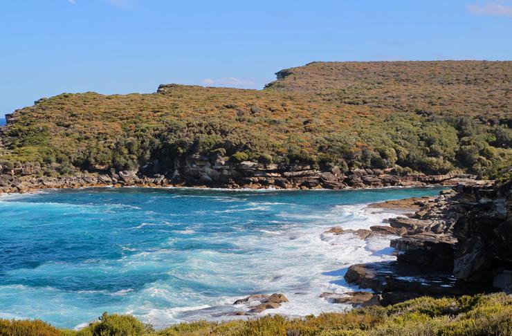 coastal view of garie beach at sydney's royal national park