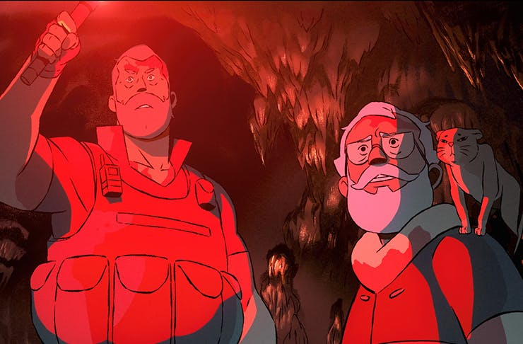animation of two men holding torches in cave