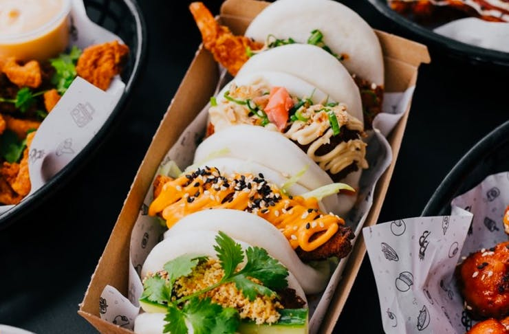 bao buns on tray